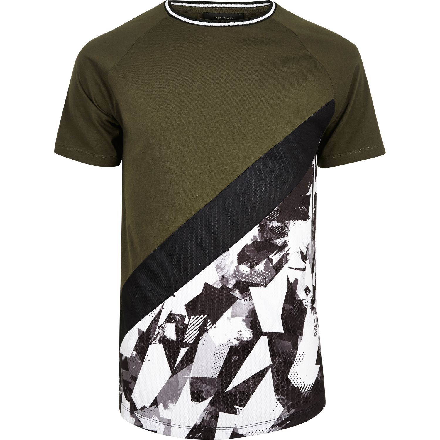 6dab224392 River Island Khaki colour block camo T-shirt