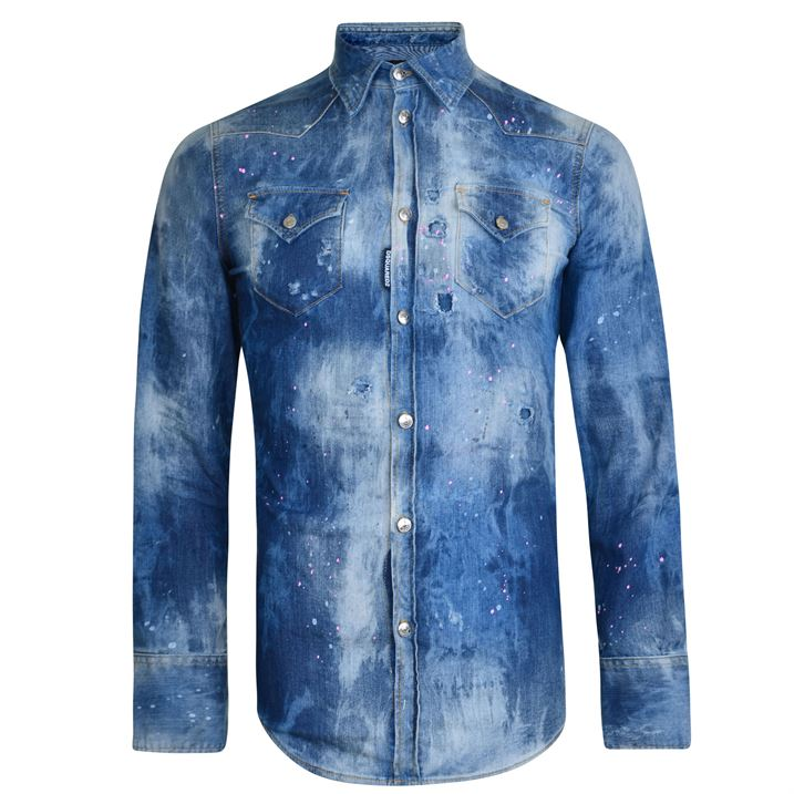 a250c1c008 DSquared2 Distressed Denim Shirt, Blue - Férfidivat
