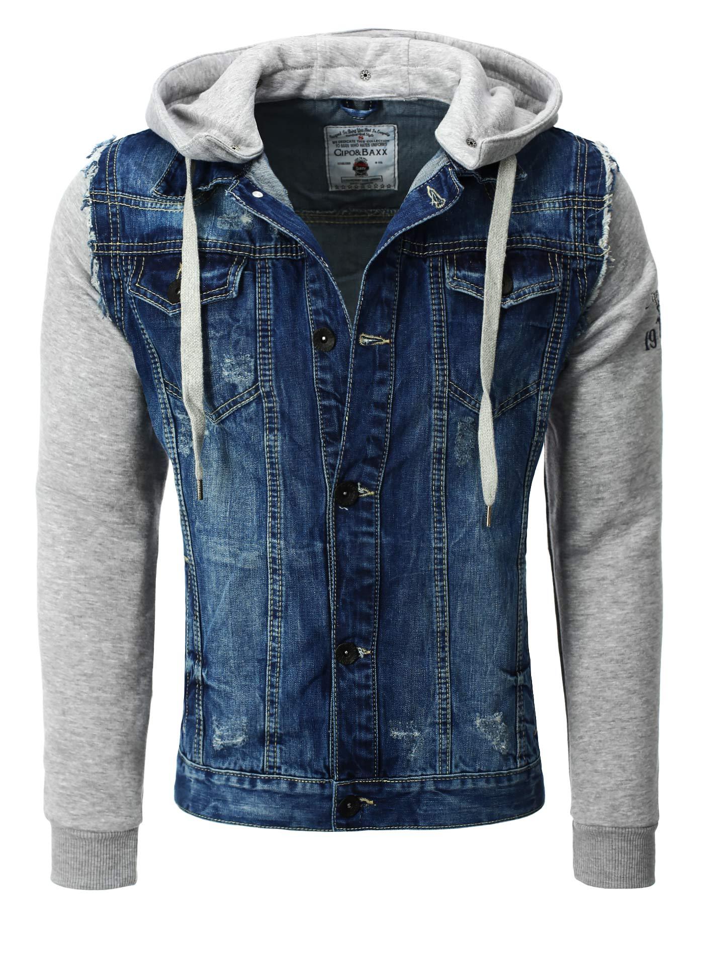 e9216dc35c Cipo & Baxx Jean Jacket with Fabric sleeves and Front Pocket, blue -  Férfidivat