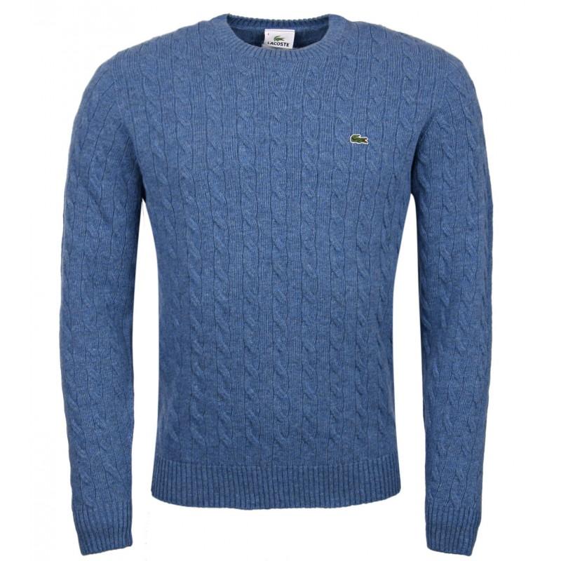 ed54d8d1f6 Lacoste kék csavartmintás pulóver - Férfidivat