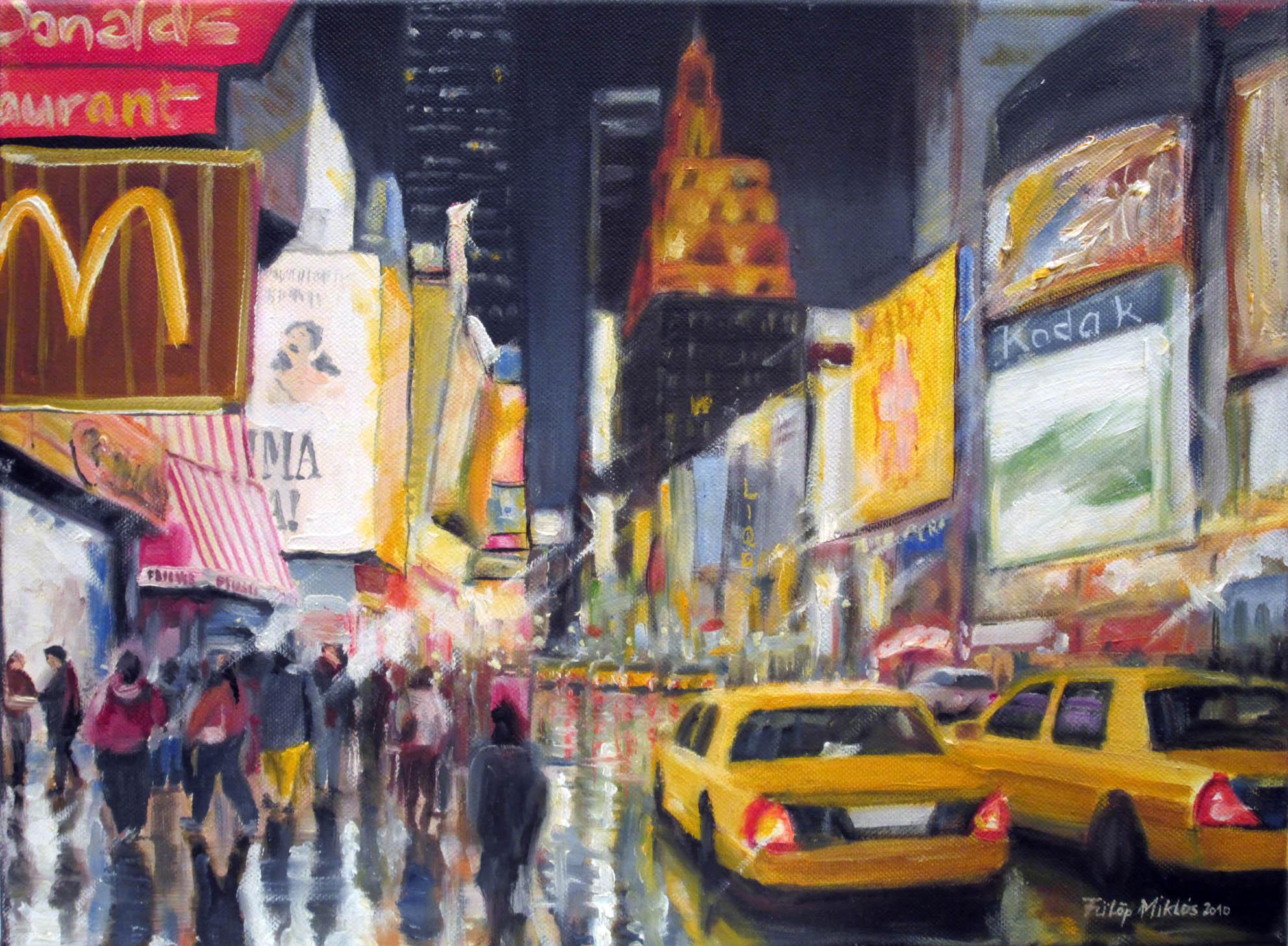 Times Square<br />30x40 cm, olaj/vászon (2010)<br />29 000 Ft