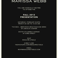 I have been invited to the Marissa Webb Fall/Winter 2013 Presentation