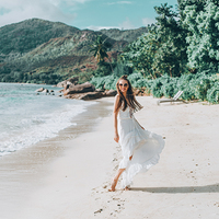 Beautiful white dress and white sand
