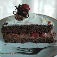 Társasági élet, ünneplés, meggyes csokitorta