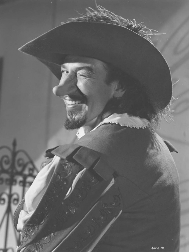 an epic play cyrano de bergerac written Cyrano totally owns this foppish duelist in the 1950's version of the classic play.