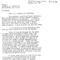 L. Ron Hubbard 1947. október 15-én írt levelében pszichiátriai kezelésért könyörög.