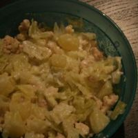 Kelkáposzta főzelék pirított pulykahússal