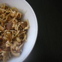 Padlizsános-paradicsomos spagetti sült pulykával