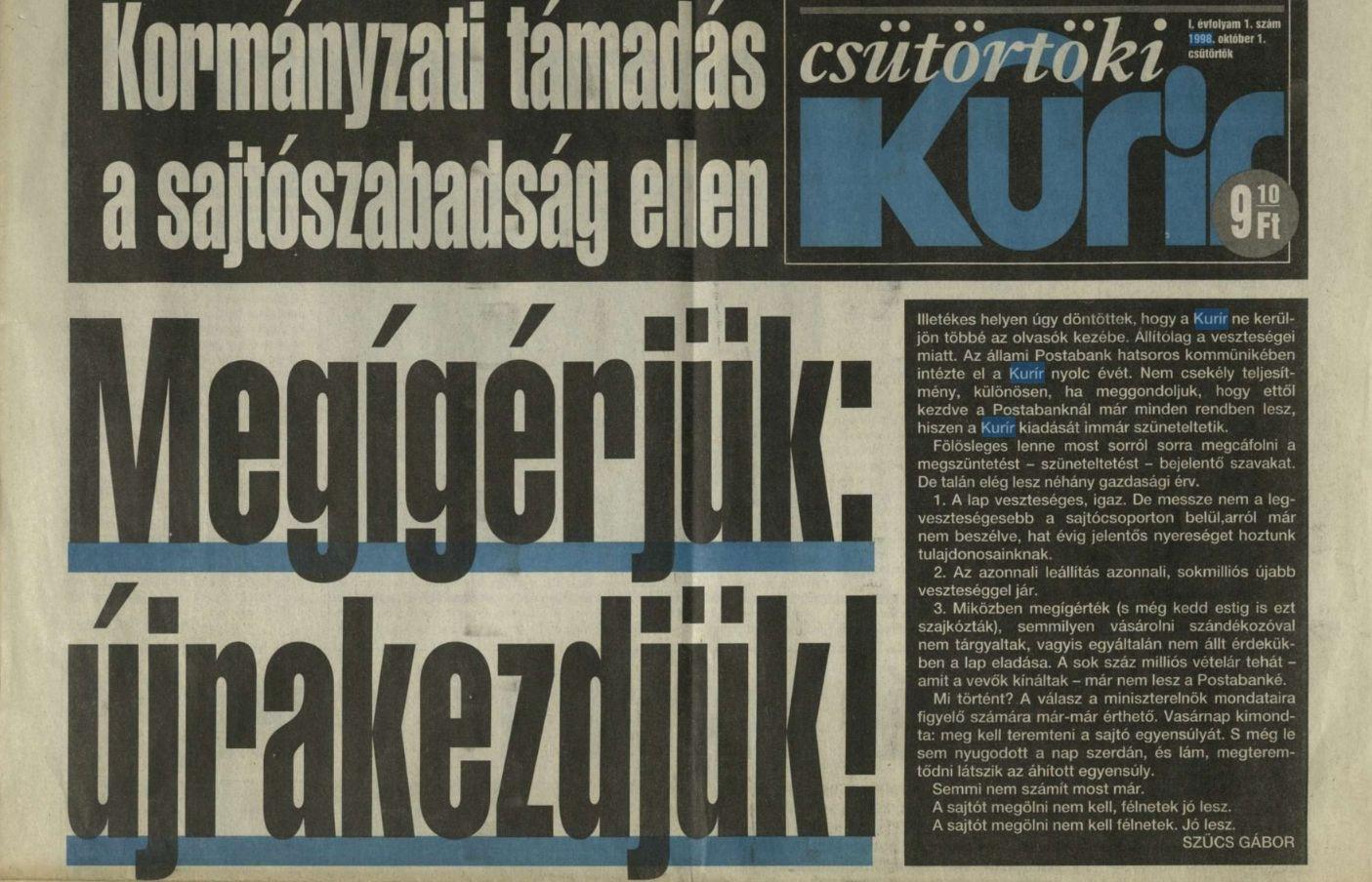 Szele Tamás: 1998. október 1.