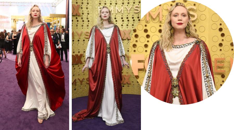 Gwendoline Christie<br />GUCCI<br /><br />Westeros királynője jelent meg az Emmy vörös szőnyegén? Vagy a legmenőbb egyházi méltóság ever? A Trónok harca színésznője szokatlan ruhát választott, de ha valaki, akkor ő tudja viselni az ilyen formabontó csodákat.
