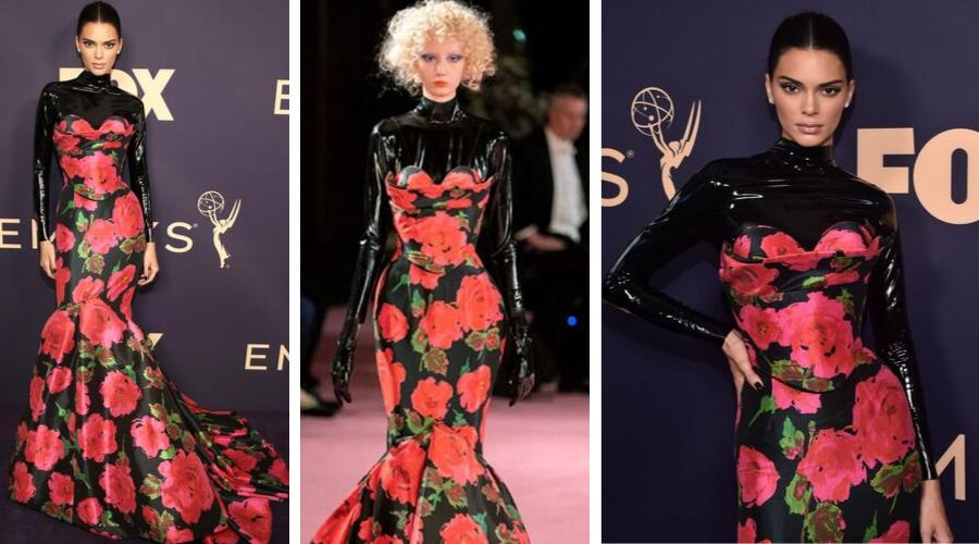Kendall Jenner<br />RICHARD QUINN<br /><br />Ha a sima, virágos estélyi már unalmas lenne, dobjuk fel valamivel! Mondjuk egy latex garbóval? Persze ha az ember szupermodell, akkor nincs ebben nagy rizikó, úgyis jól fog állni a végeredmény. A ruha egyébként pont ebben a stylingban mutatkozott be a múlt héten, a London Fashion Week keretében Richard Quinn 2020. tavasz-nyári kollekciójában.