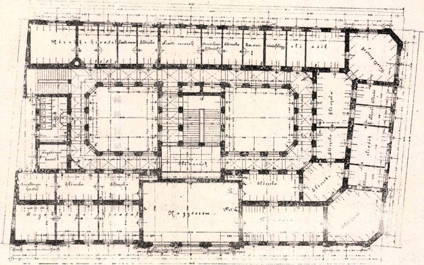 Első emeleti alaprajz. (Forrás: Építő Ipar, 1899)