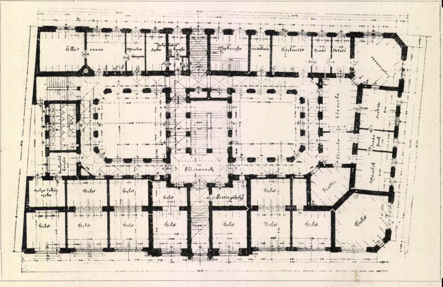 Földszinti alaprajz. (Forrás: Építő Ipar, 1899)