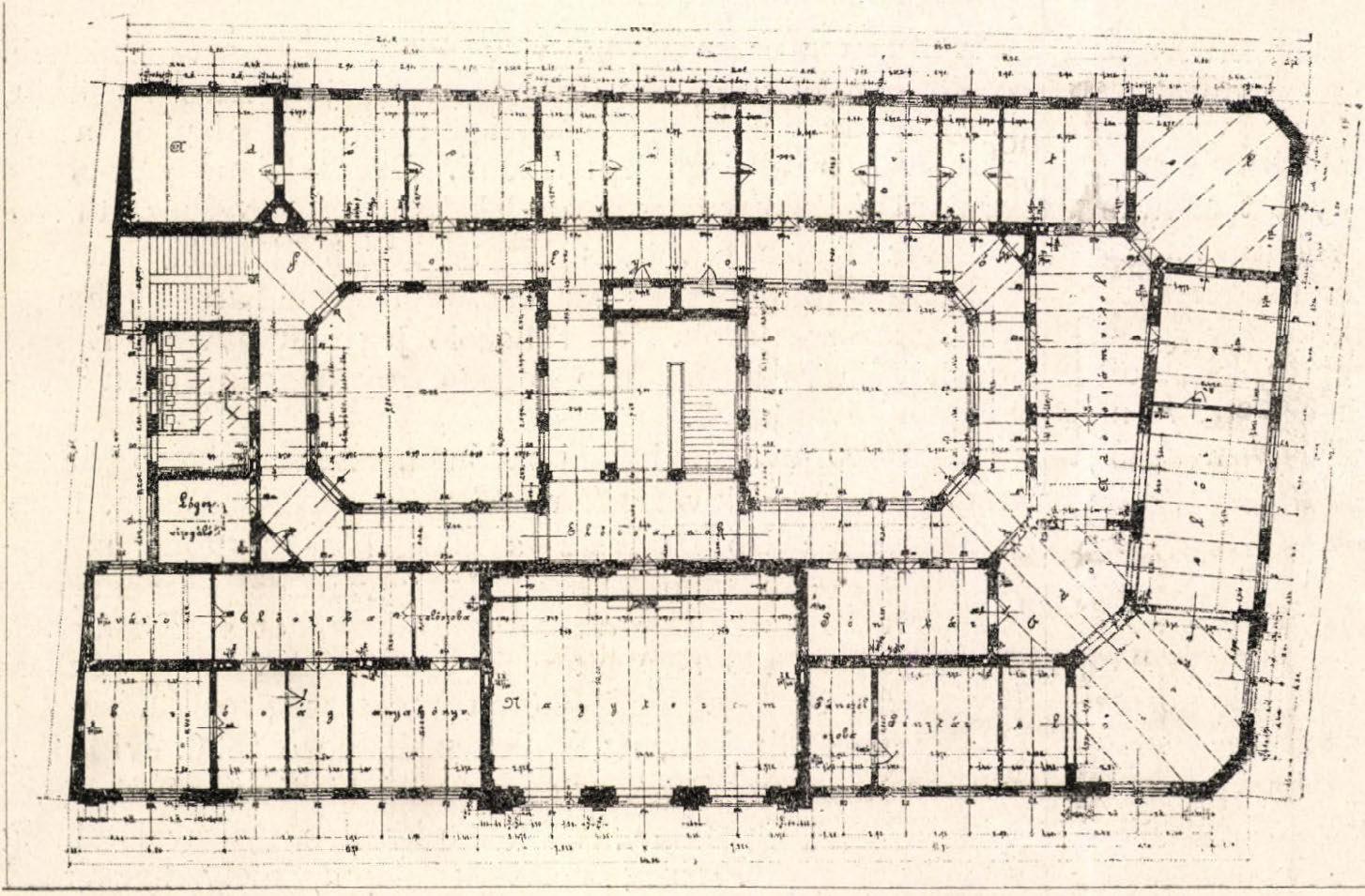 Második emeleti alaprajz. (Forrás: Építő Ipar, 1899)