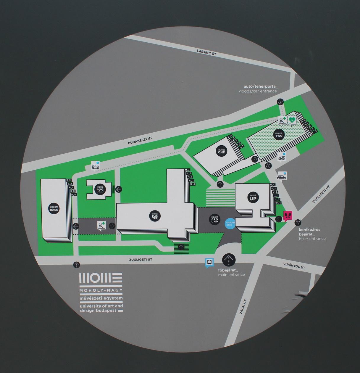 Térkép a campus épületeivel, 2020 (fotó: Papp Géza, Fővárosi Blog)