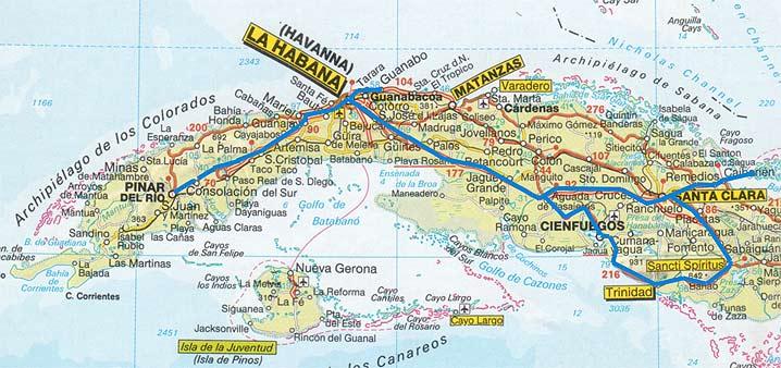 Kuba térkép és utunk
