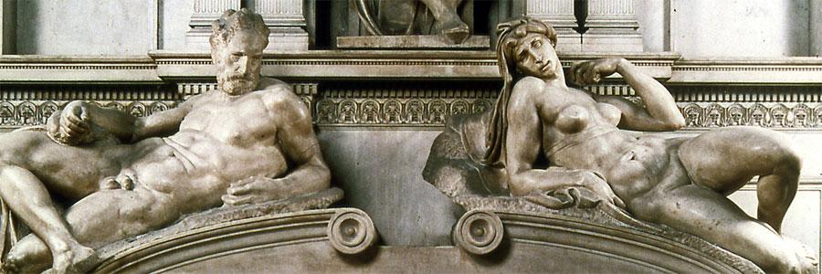 Medici kápolna, Michelangelo, Hajnal és Alkony