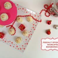 Aszalt áfonyás marcipán bonbonok fehér csokoládéba mártva