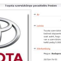 Toyota szervízkönyv pecsételés Pesten