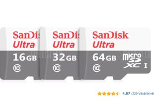SanDisk microSDHC memóriakártya 16 GB-os méretben – a minimalista