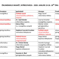 Az Ökumenikus Imahét 2020. évi nyíregyházi programja