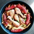 Tepsis csirkecomb kolbásszal és krumplival