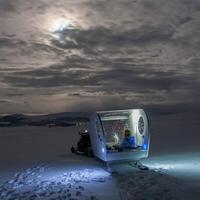 Mobil hotelszoba a sarki fény alatt