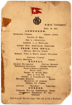 Árverésen a Titanic utolsó menükártyája