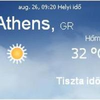 Görögország napi aktuális időjárás előrejelzés 2010.augusztus 26.