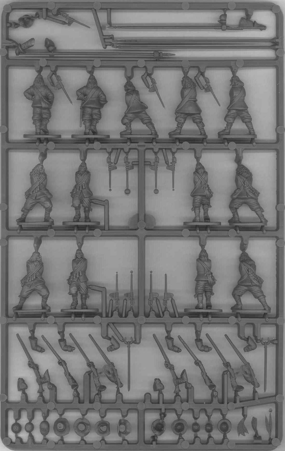 Gyalogos keret. Nyolc muskétás nyolc muskétával. Öt pikás viszont csak négy pika, pontosabban kettő-kettő port és advance tartással.