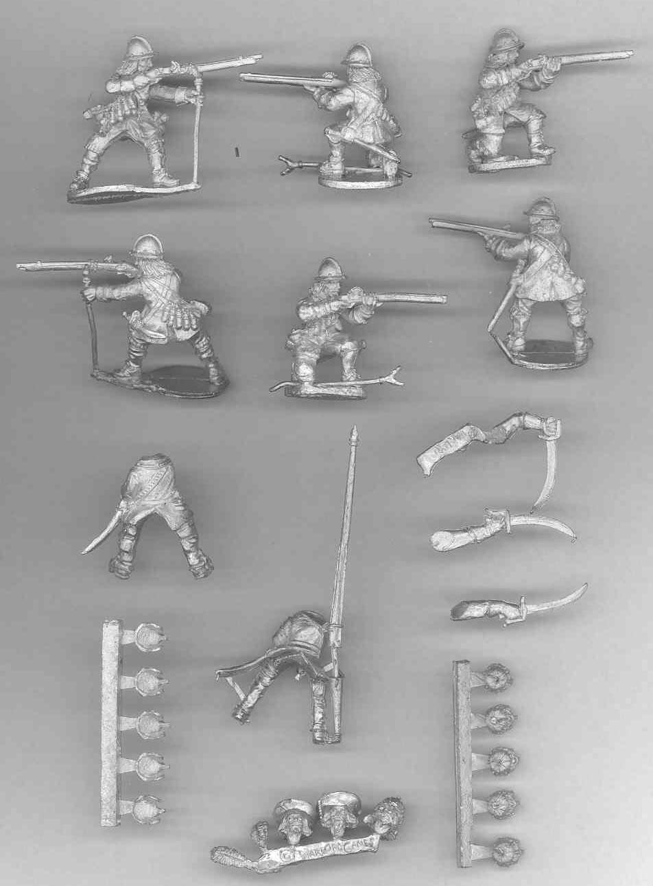 Egy zászlós és egy tiszt lovas figura. Tíz német és De Geer sisak. Valamint hat figura az úgynevezett commanded musket Gusztáv Adolf találmánya.
