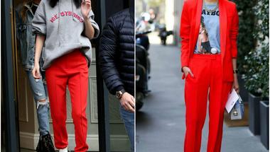 Hogyan hordjuk a piros nadrágot