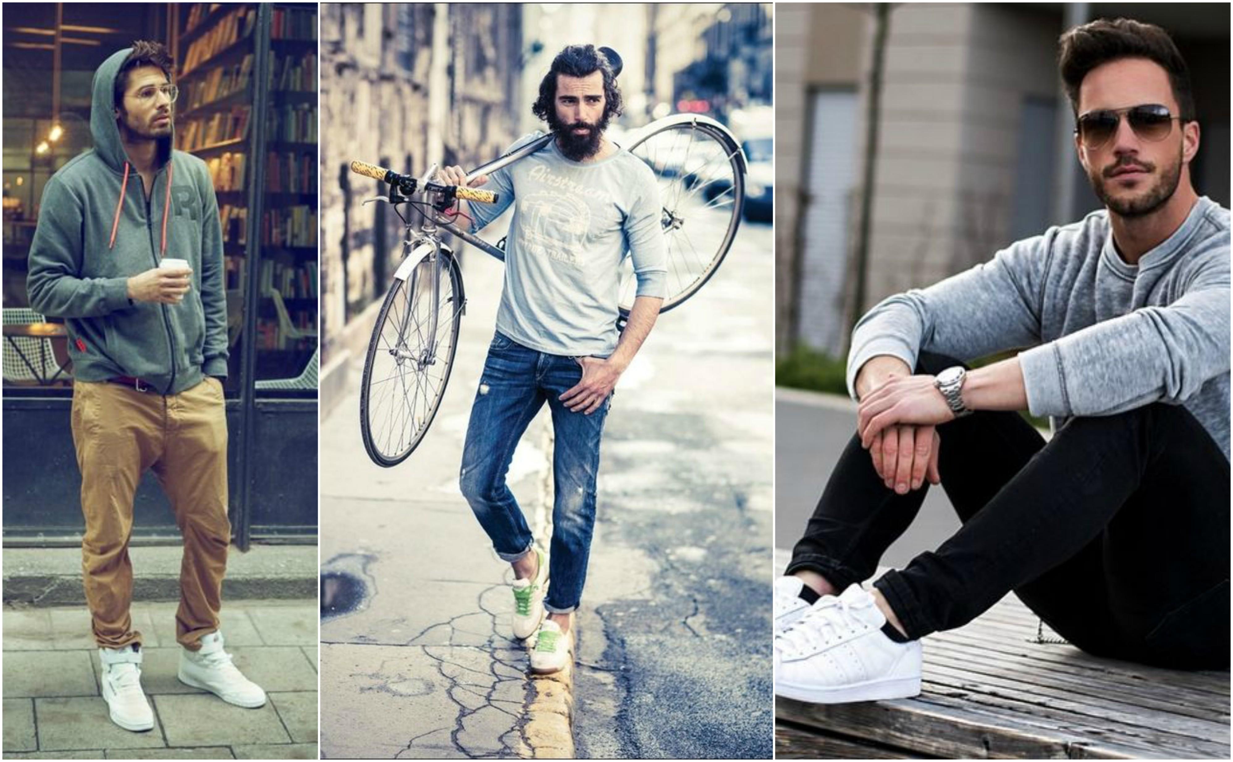 Fehér edzőcipő+farmer férfiaknak Grafostylist: önismeret
