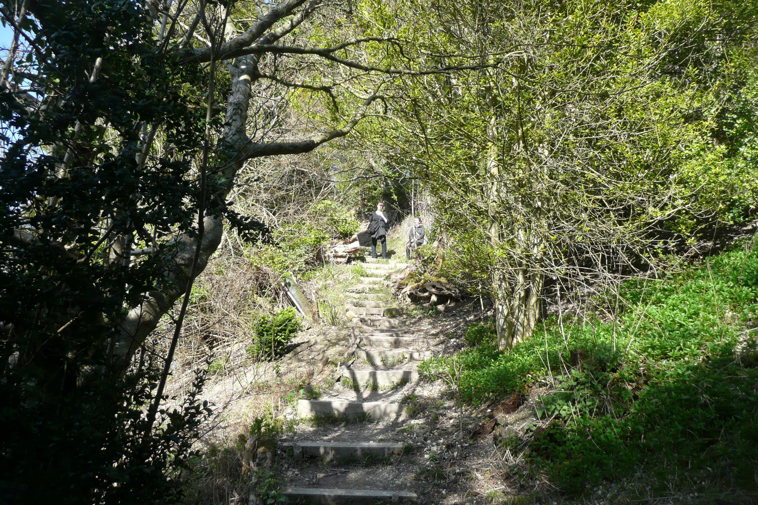 kevésbé rendezett lépcsősor, összesen több mint 170 lépcső vezet le  a Temze partjára