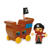 Kerekes kalózhajó félszemű kapitánnyal
