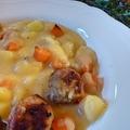 Sütőtökös krumplifőzelék rozmaringos húsgolyóval