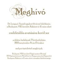 Emléktábla-avatás dr. Lengyel Árpád emlékére