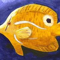 Sárga hal -  kék alapon
