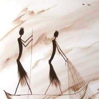 Afrikai halászok, csónakban