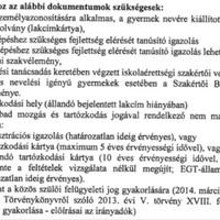 Beíratkozáshoz szükséges dokumentumok 2014.04.