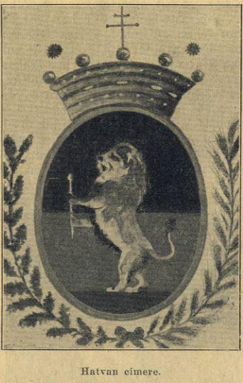 Hatvan címere 1928-ban. A mai változattól eltérően az oroszlán vörös bot, vagy mifene helyett egy jogart tartott a karmaiban.