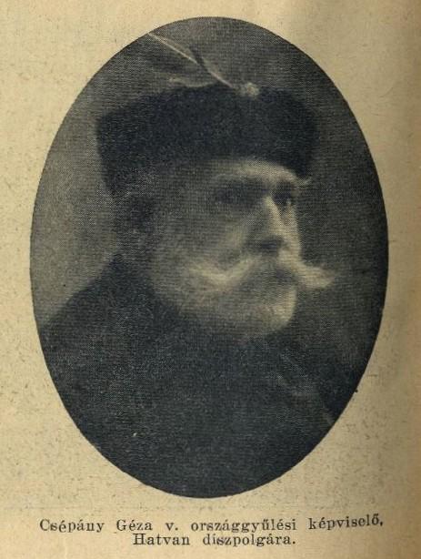 Csépány Géza (1850-1939), jogász, a térség választókerületének első hatvani illetőségű parlamenti képviselője 1905-1910 között. Előtte és utána is Hatvan meghatározó közéleti személyisége volt.