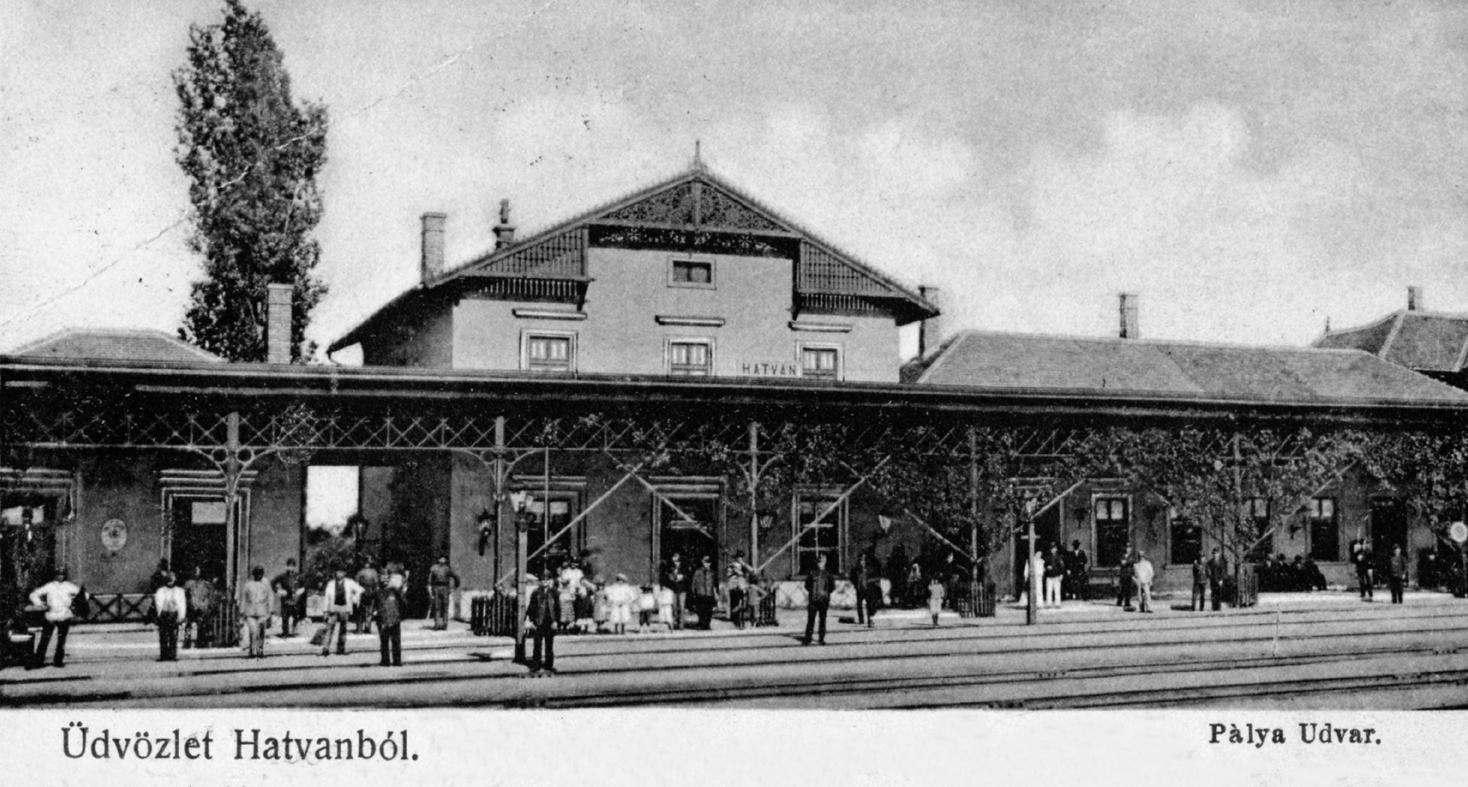 A régi hatvani vasúti pályaudvar képeslapon.