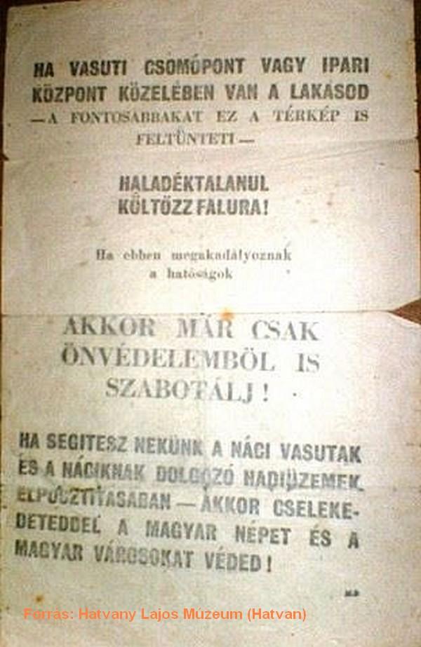 A Szövetségesek által a támadás előtt ledobott magyar nyelvű figyelmeztető röplap.