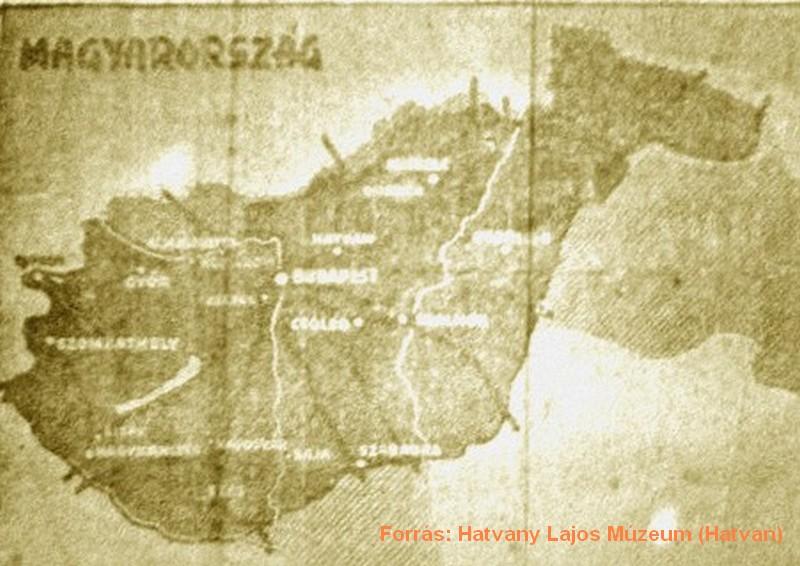 A röplap másik oldala, amelyen a veszélyeztetett településeket jelölték a korabeli Magyarországán térképén.