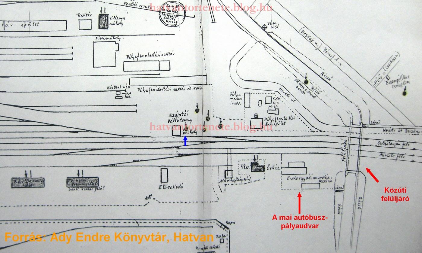 A bombázásról, Doktay Gyula által készített helyszínrajz részlete. Fekete nyilak/pöttyök jelzik a bombák becsapódási helyét. Kék nyíllal jelezve az egyik óvóhely.