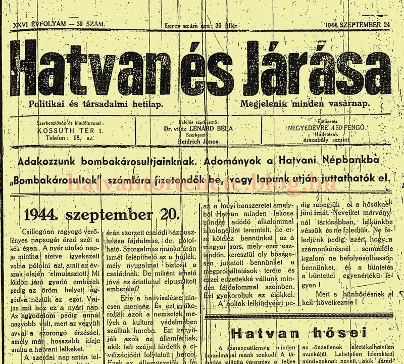 A Hatvan és Járása 1944. szeptember 24-i lapszáma.