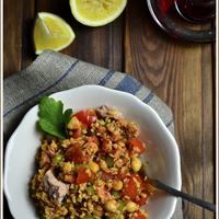 Bulgúr saláta tonhallal, chermoula öntettel- egy kis szenvedély a tél végére...