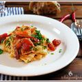 Pasta garnélával, fehérboros paradicsom mártásban