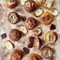 Banános-kókuszos töltött muffinok rizslisztből cukor, tej és gluténmentesen